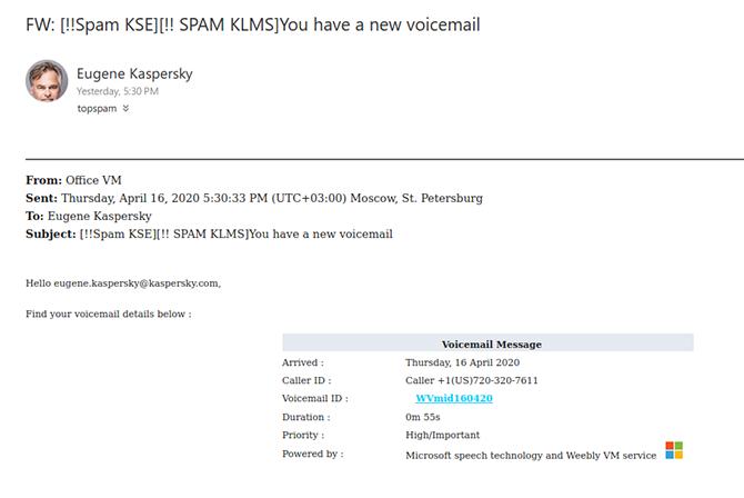 Gefälschte Voicemail-Benachrichtigung