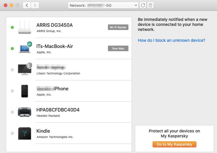 Kaspersky Security Cloud zeigt Ihnen alle Geräte in Ihrem Netzwerk an.