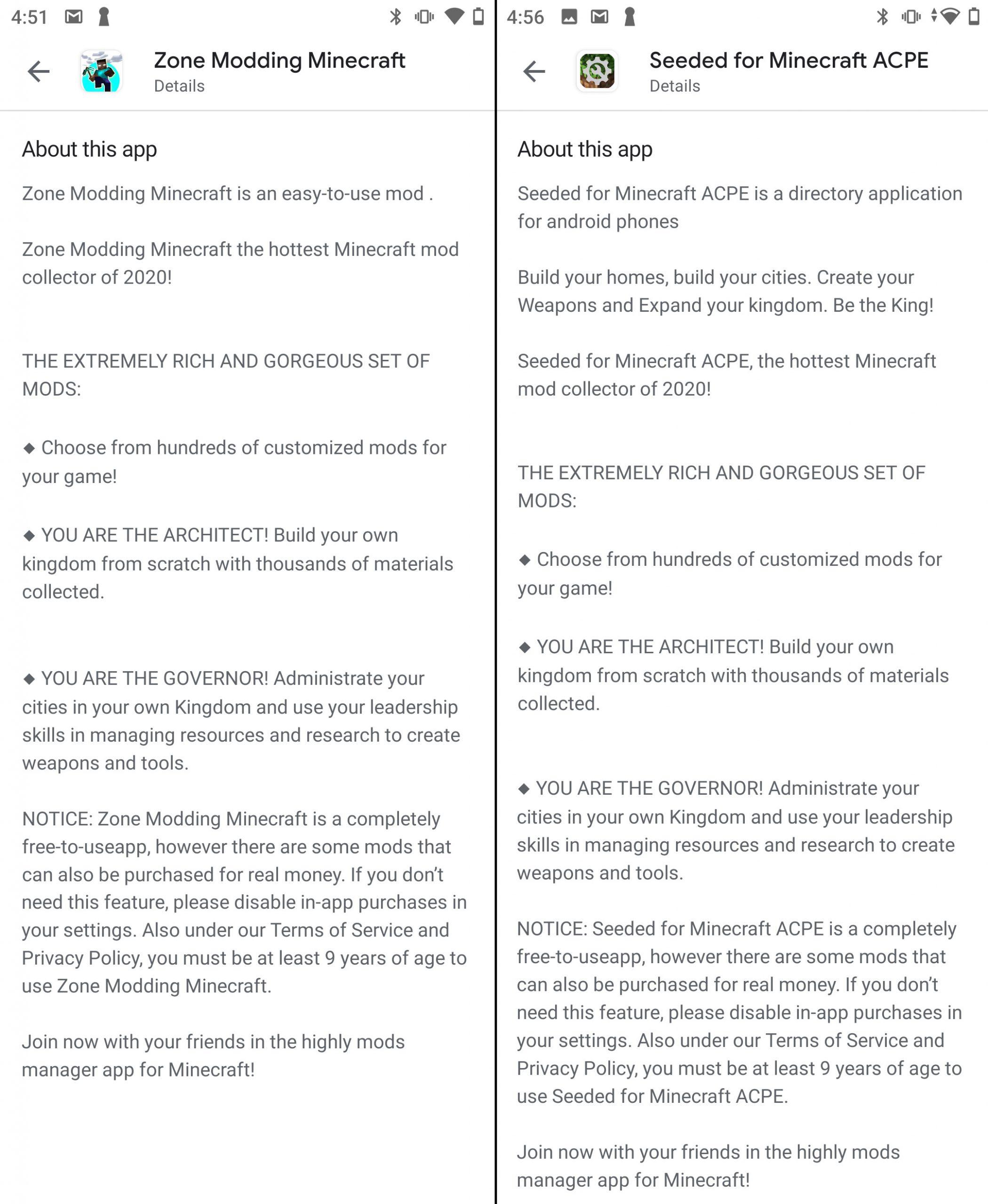 Apps von unterschiedlichen Herausgebern mit identischen Beschreibungen