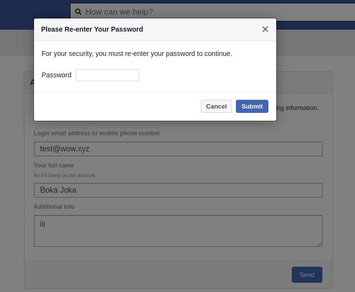 Zuletzt das Formular für die Passworteingabe