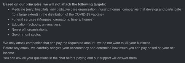 Die Ethikerklärung der Ransomware-Gang