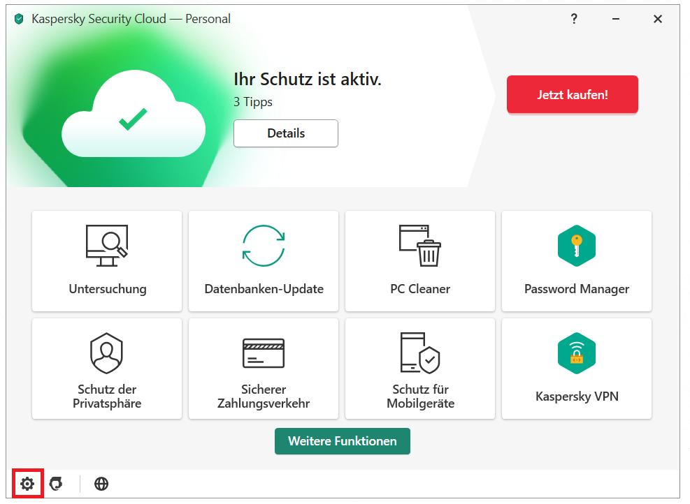 Anti-Banner im Hauptmenü von Kaspersky Security Cloud aktivieren