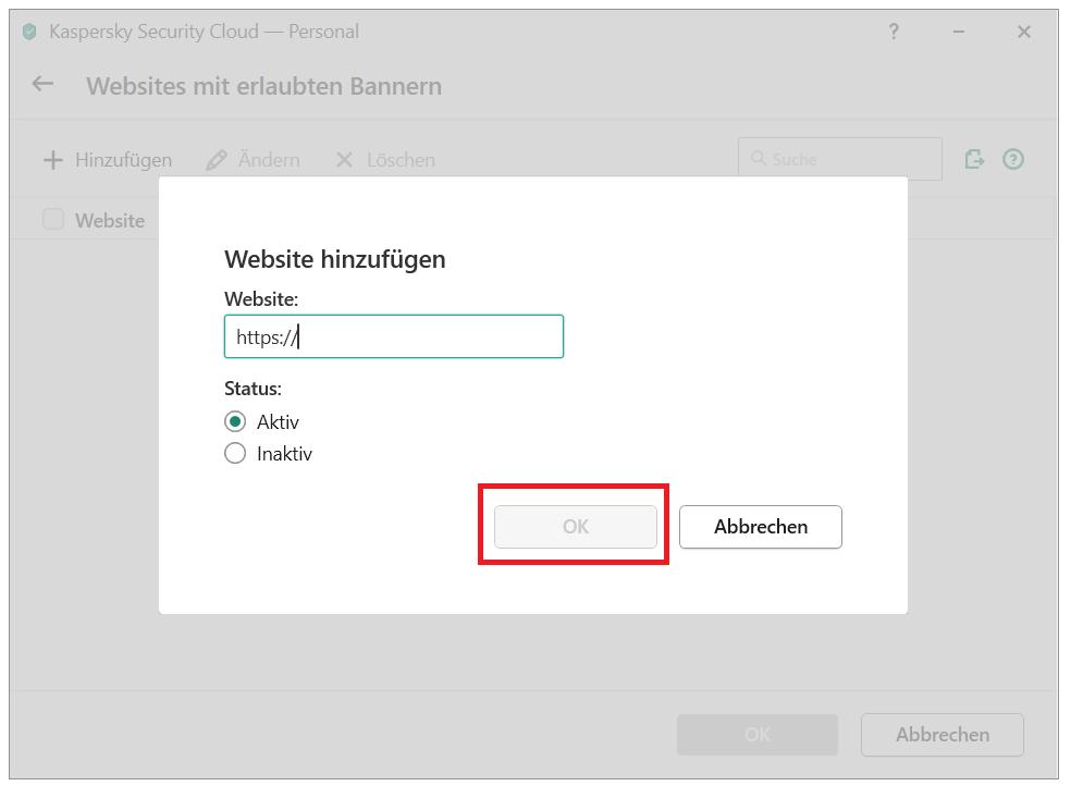 In Kaspersky Security Cloud ein Banner auf die Liste mit erlaubten Bannern setzen