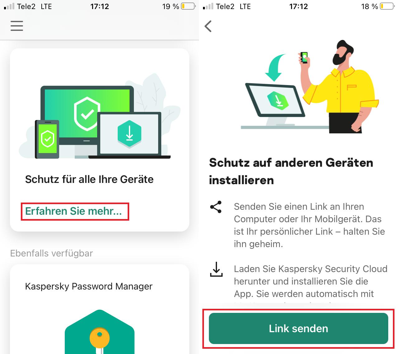 So senden Sie über Ihr Smartphone eine Lizenz zu einem neuen Gerät