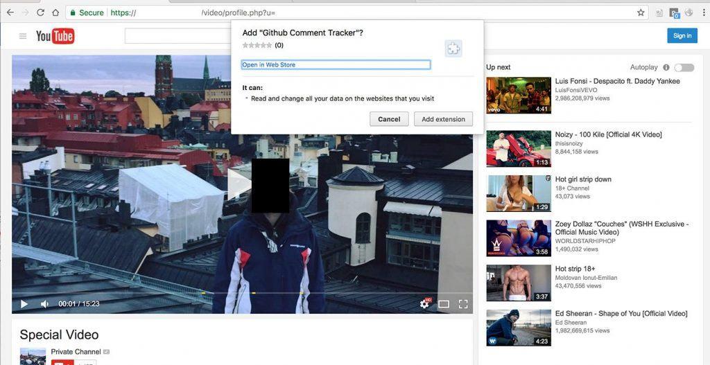 Google Chrome拡張機能のインストールを促す偽のYouTubeページ