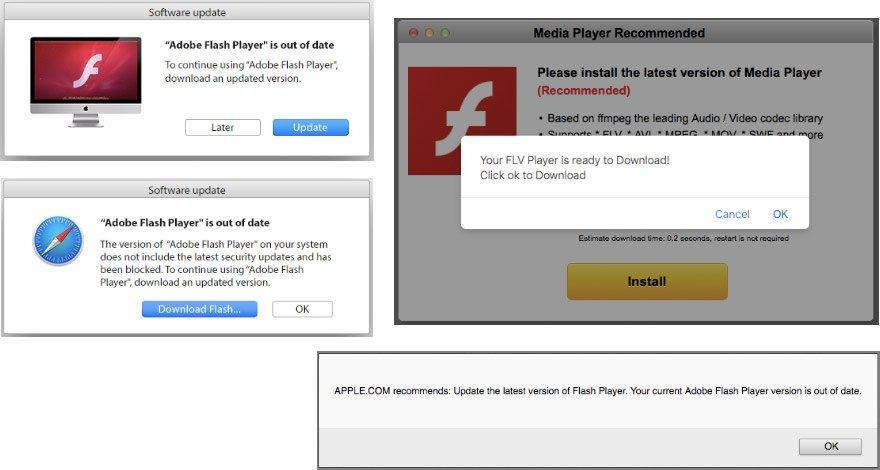 Google Chrome以外のブラウザーでは、Adobe Flash Playerを装ったアドウェアのダウンロードを促される