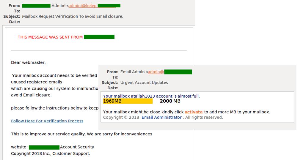 フィッシング詐欺師がよく使う手口:メールサービスからの通知を装ったメール