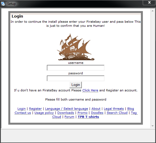 Pirate Bayアカウントのログイン名とパスワードを盗むために、Pirate Matryoshkaマルウェアで表示されるフィッシングウィンドウ