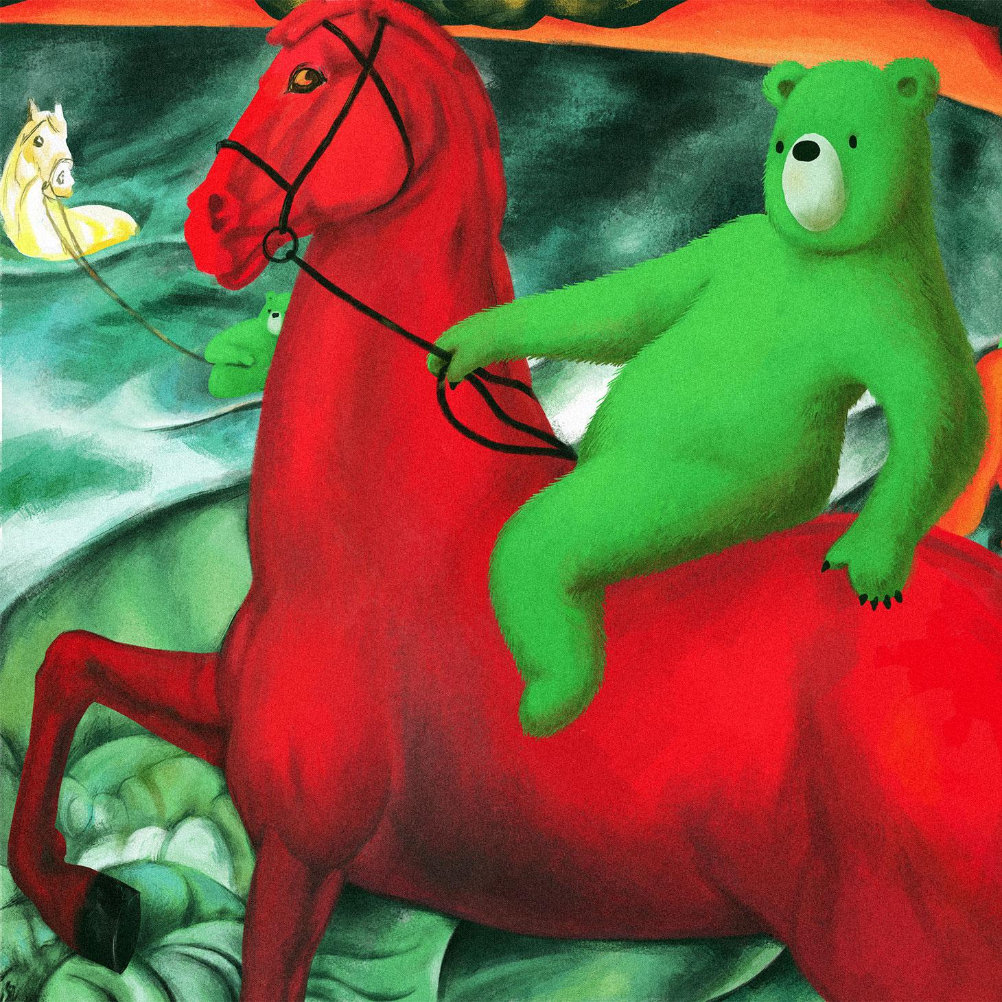 クジマ・ペトロフ=ヴォートキン『赤馬の水浴』