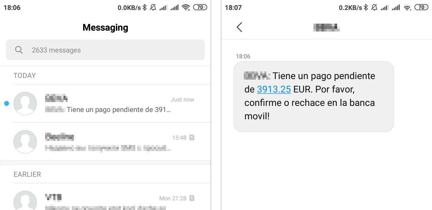 銀行から送られたかのように見せかけたSMS。モバイルアプリ内で支払いを確認するように求めている