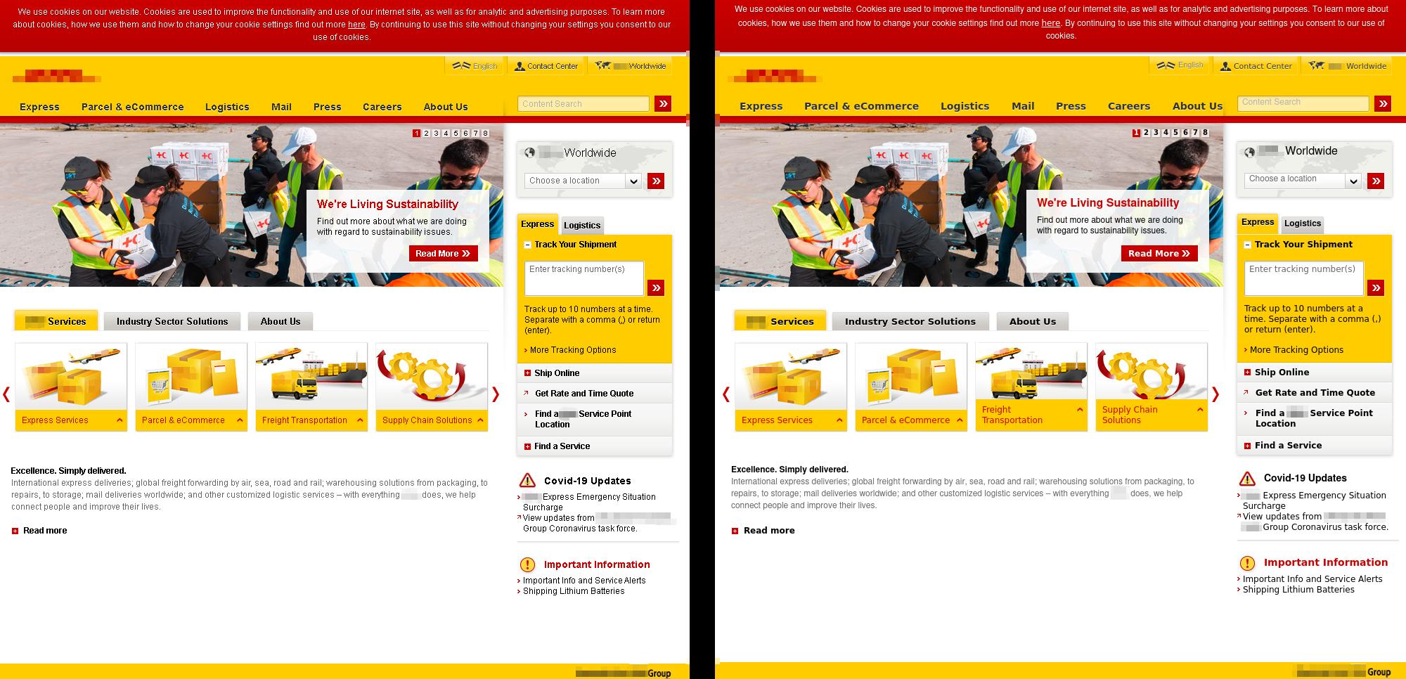 公式サイト(左)と、そっくりに作られたフィッシングサイト(右)
