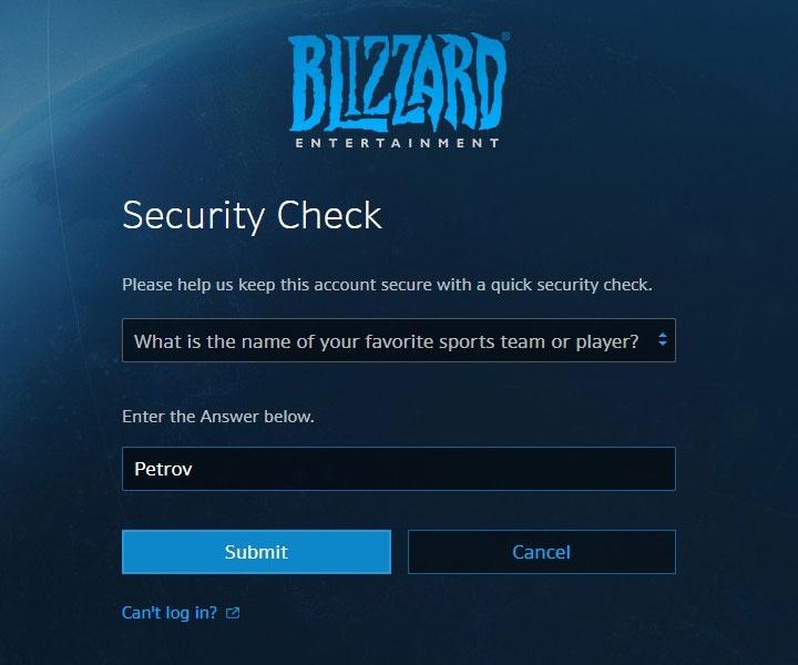 偽のBlizzardサイトの「セキュリティチェック」