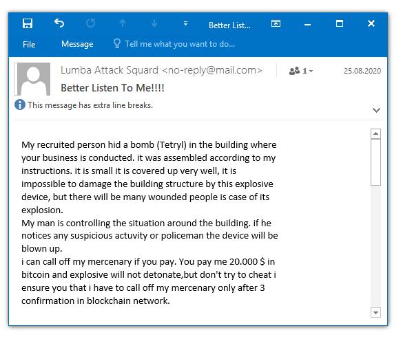 建物に爆弾を仕掛けたとしてBitcoinで20,000ドルを要求するスパムメール