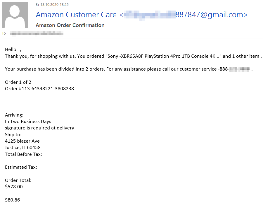 Amazonから送信されたように見せかけた詐欺メール。高額の注文品(受信者は注文していない)が発送されたと書かれている