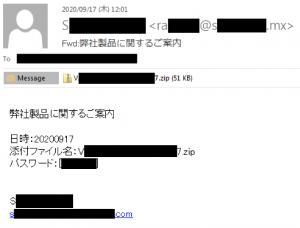 Emotetを拡散させるスパムメールの例。パスワード保護されたZIPファイルが添付され、パスワードが本文に記載されている