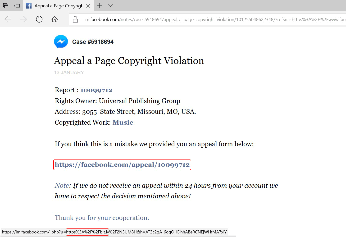 リンクをマウスオーバーしたところ。左下に見えるのが実際のリンクアドレス。一見すると内部リンクのようだが、実はBitlyを使った外部リンクであることが分かる