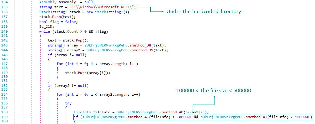 アンパック後、条件に合致するファイルを探索するコード部分