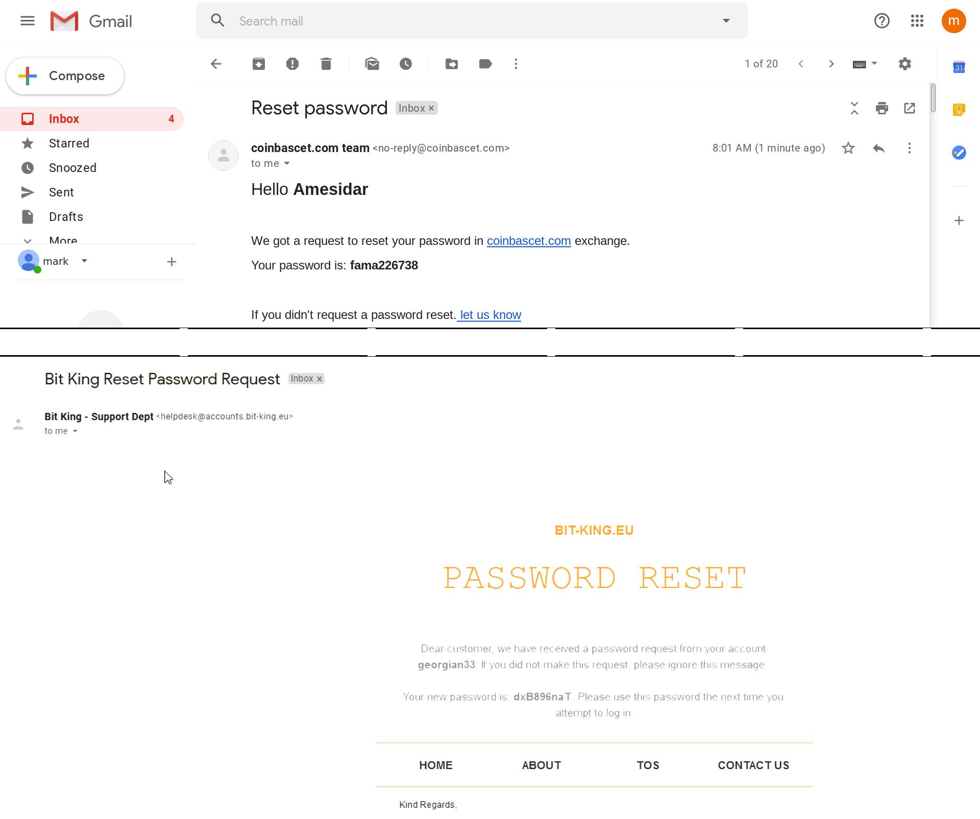 偽の仮想通貨アカウント用の偽のパスワードリセットメール