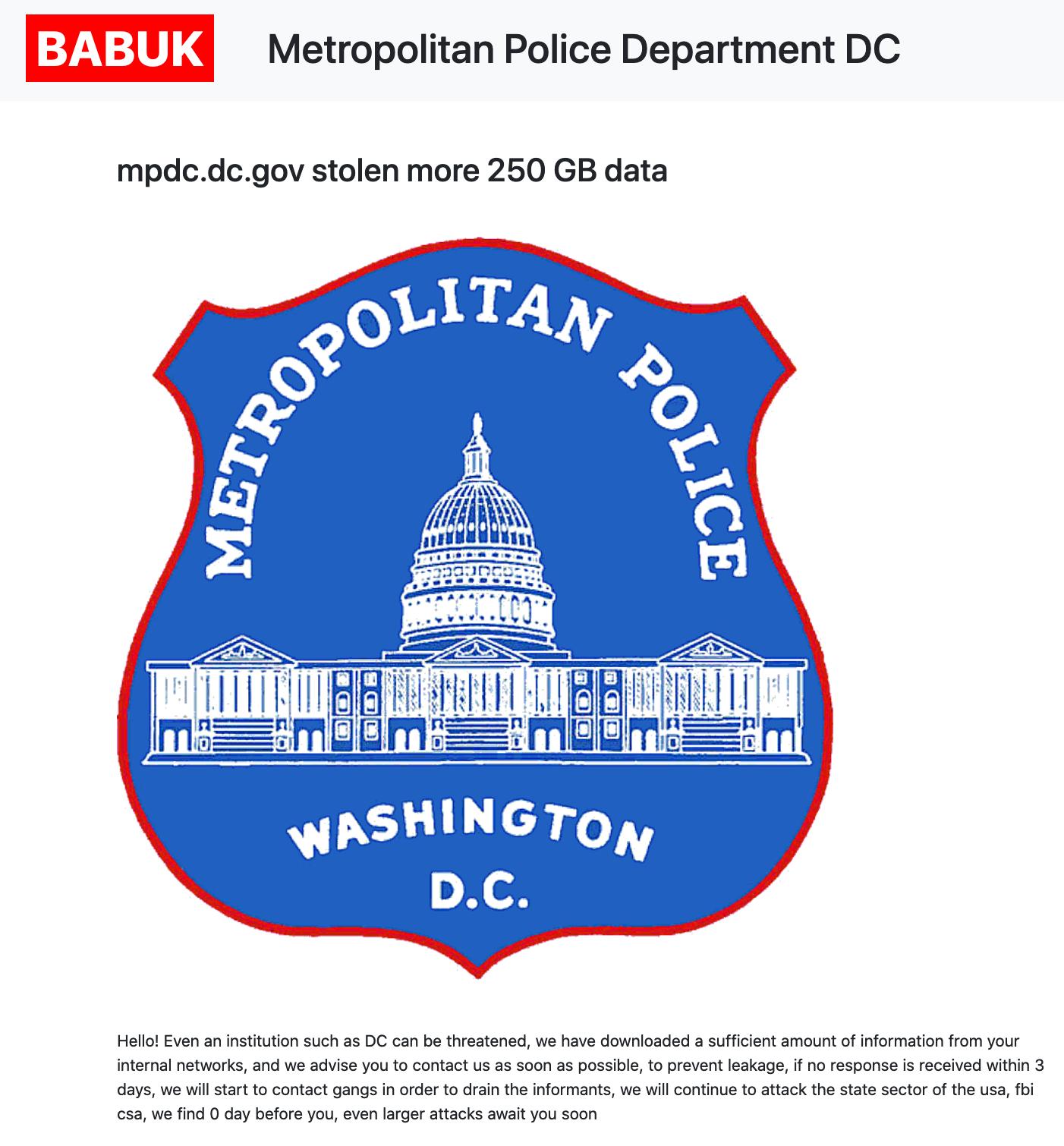Babukが発表したDC警察への攻撃成功の様子