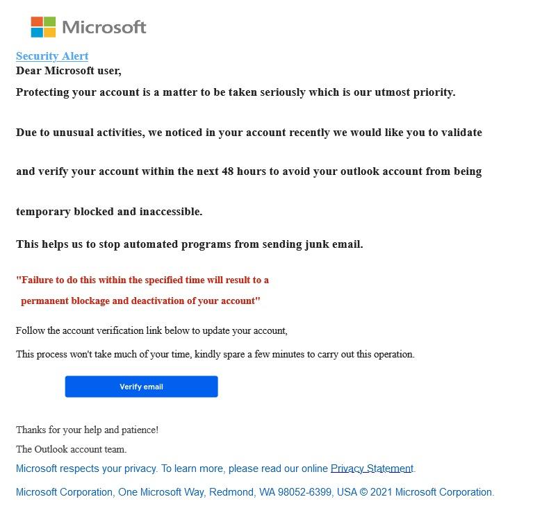 Microsoftから届いたアカウント確認メールのような体裁のフィッシングメール。実は白地に文字が書いてある画像が貼られたもの
