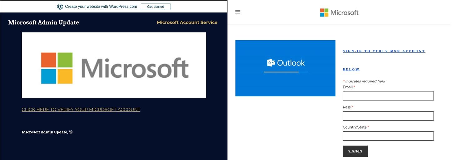 MicrosoftのWebページに見せかけようとしている偽ページ