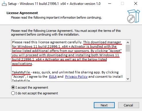 偽のWindows 11インストーラー画面 - 1