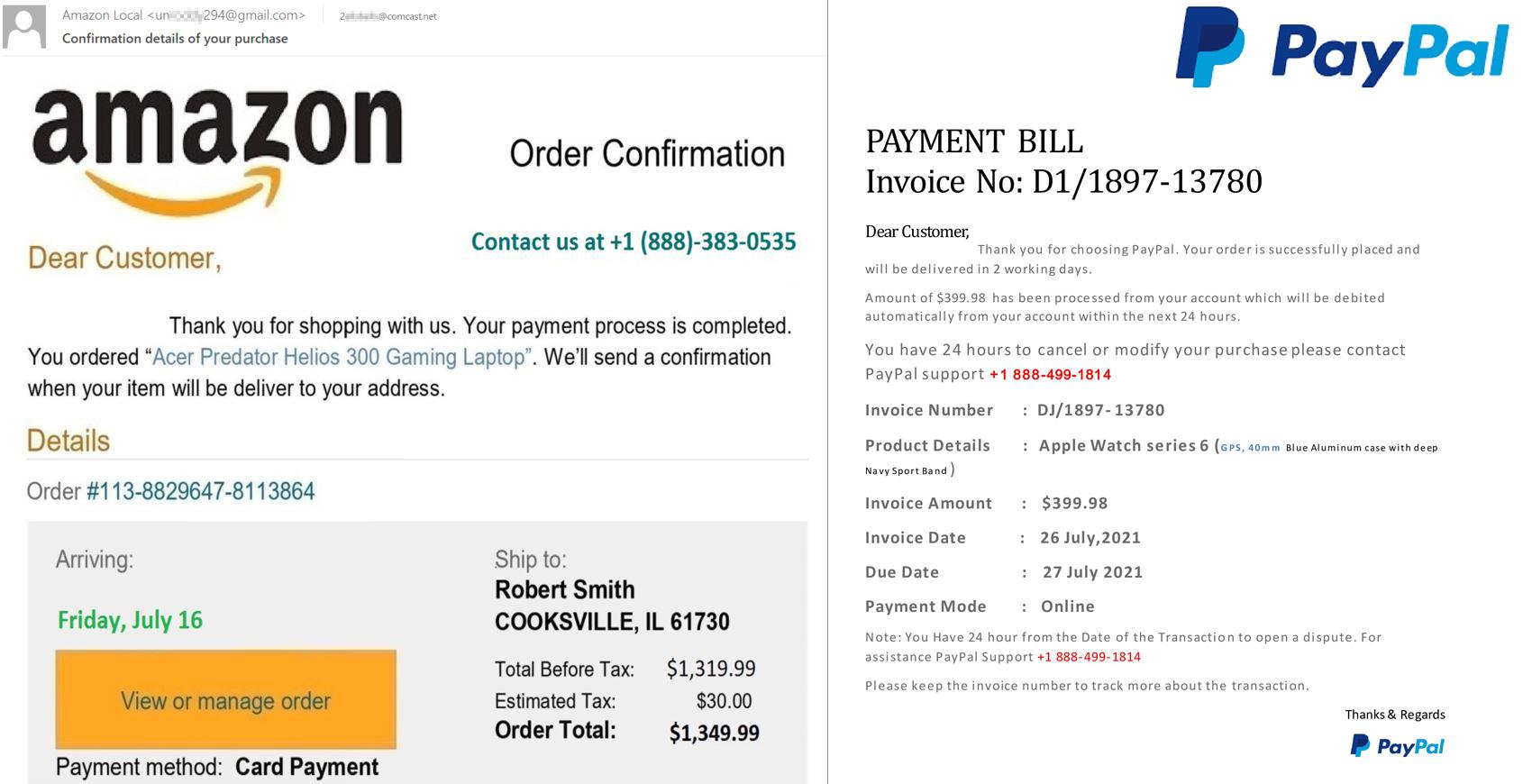 偽の電話番号が掲載された、偽物のPayPal/Amazonの購入確認メール