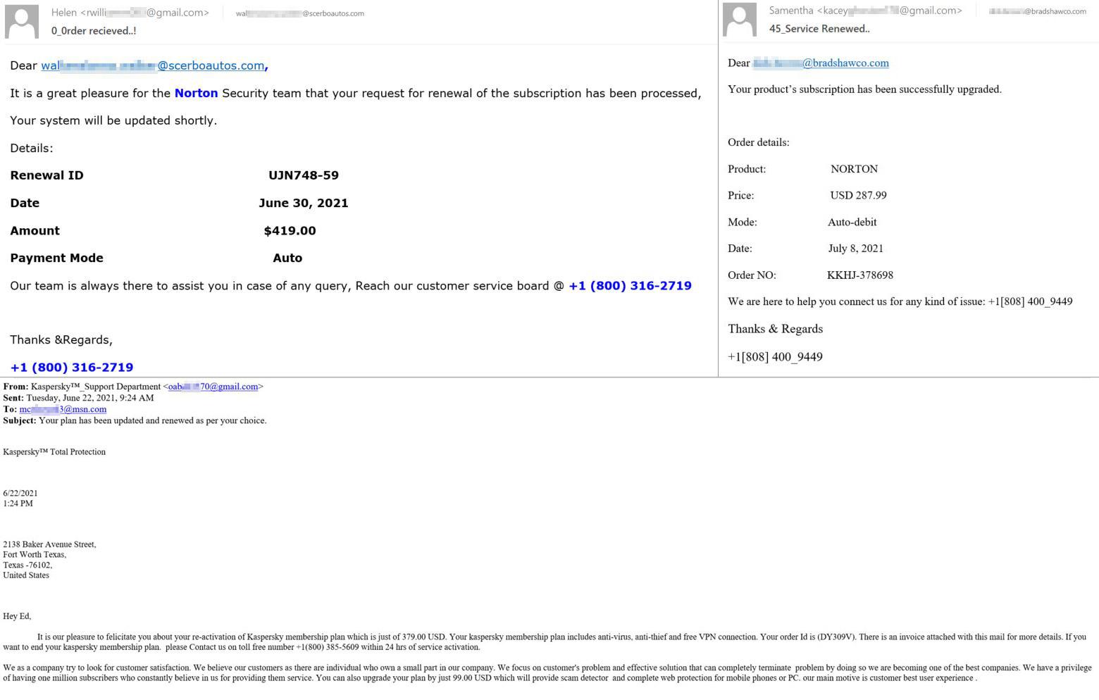 Nortonの購入に関する通知、そして「Kaspersky Total Protection」の購入に関する通知を装った偽メール。ライセンス情報と、問い合わせ用電話番号が記載されている