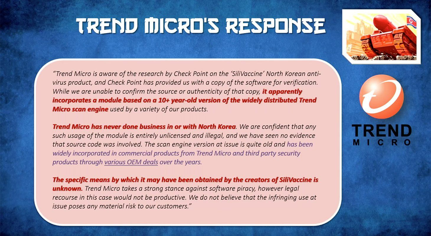 Trend Micro's officiële antwoord op het onderzoek beweert dat de Noord-Koreanen sterk van hun antivirus engine heeft afgekeken