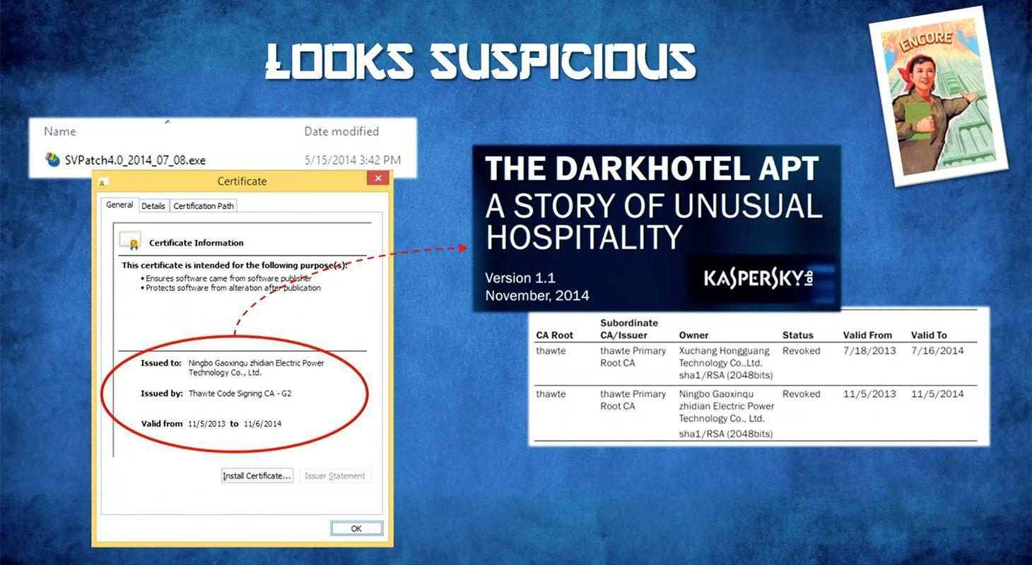 Het bestand dat de Bloomberg journalist had ontvangen, bevatte ook malware die verbonden is aan het DarkHotel APT