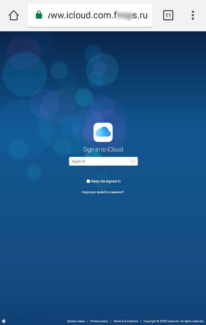 De phishing-pagina gelinkt in het bericht (desktop-versie)
