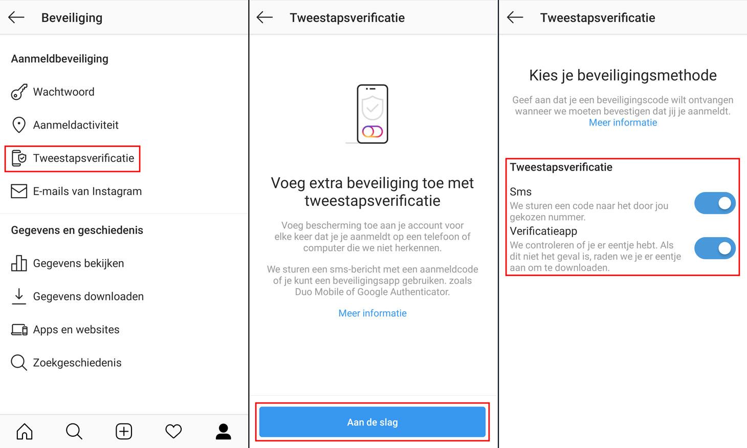 Hoe stelt u tweestapsverificatie in binnen de Instagram-app