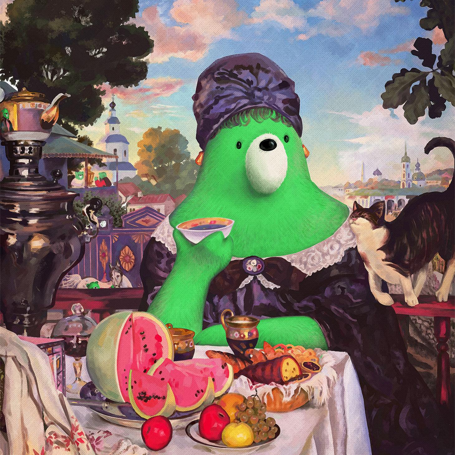 Boris Kustodiev. Merchant's Wife at Tea