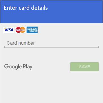 Een nep — en helaas erg overtuigend — venster voor het invoeren van bankkaartgegevens, weergegeven in wat de Play Store-app lijkt te zijn