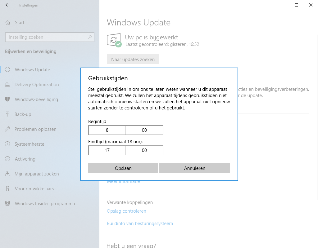 Specificeer de tijden waarop Windows Update niet zou moeten draaien zodat dit niet van invloed is op de gaming-prestaties