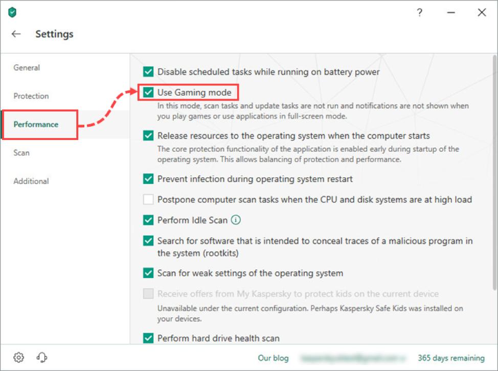 Zorg ervoor dat de gaming-modus in uw Kaspersky Internet Security of Kaspersky Security Cloud ingeschakeld is om de impact van het beveiligingssysteem op de prestaties te minimaliseren