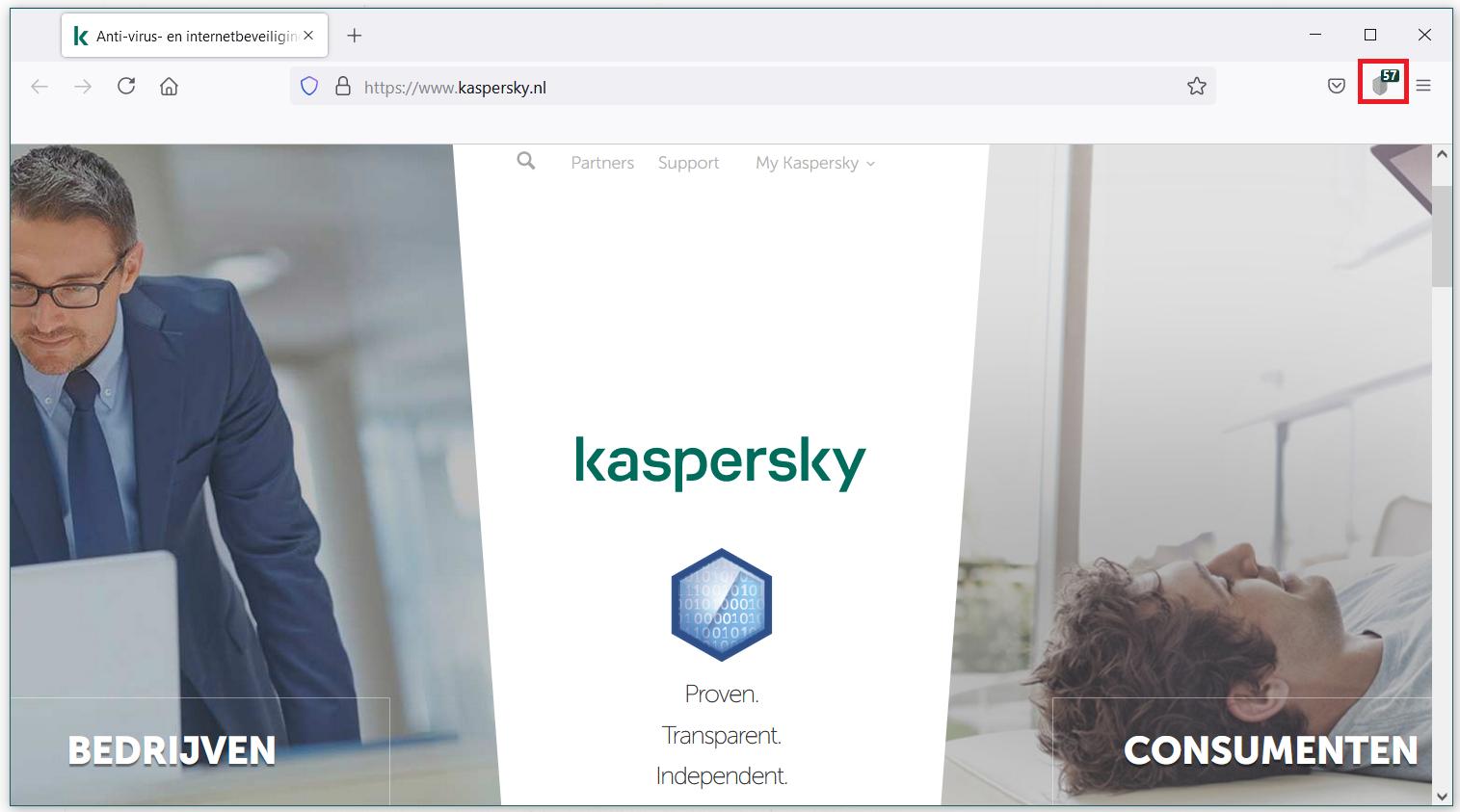 Als u de Kaspersky Protection-extensie hebt geïnstalleerd, zou het pictogram in de navigatiebalk van uw browser moeten verschijnen