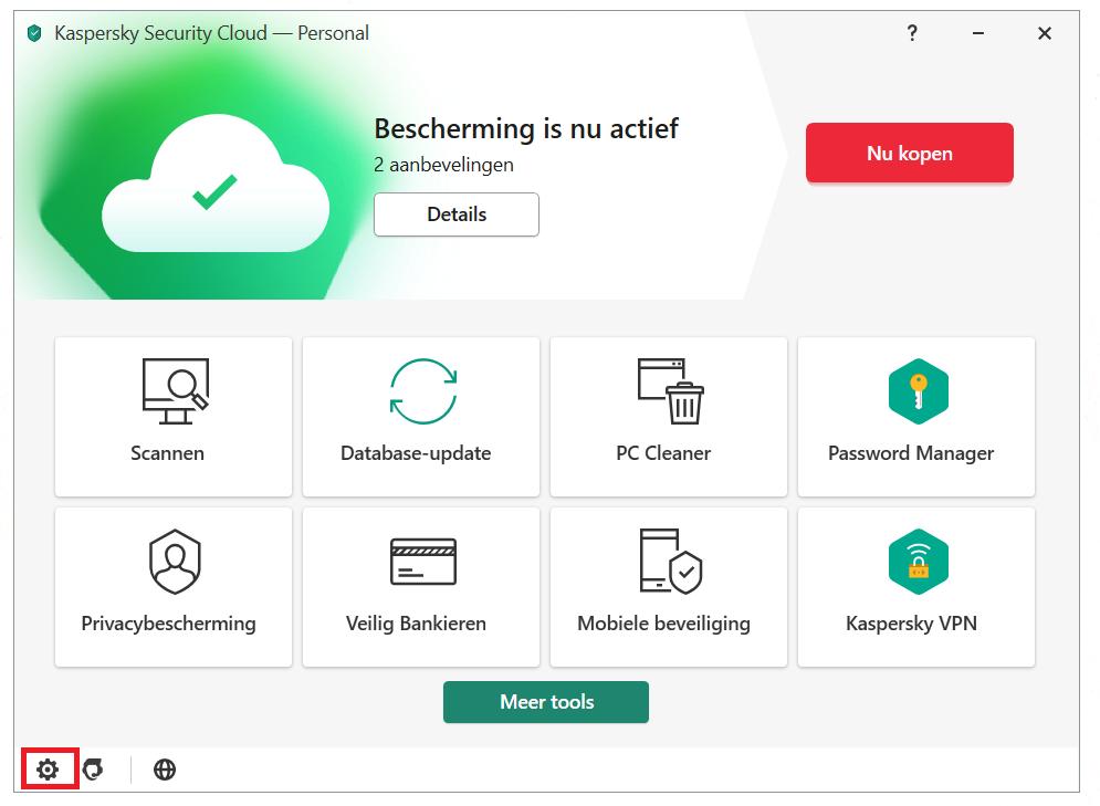 Anti-Banner inschakelen vanuit het hoofdmenu van Kaspersky Security Cloud