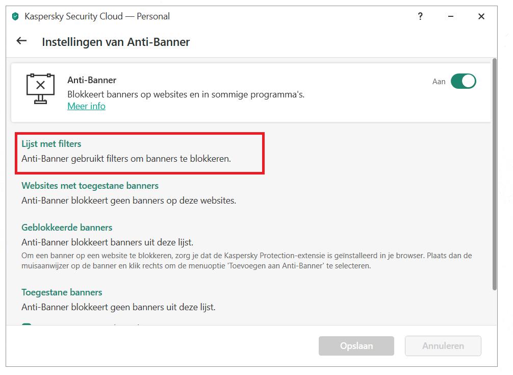 Anti-Banner configureren in Kaspersky Security Cloud