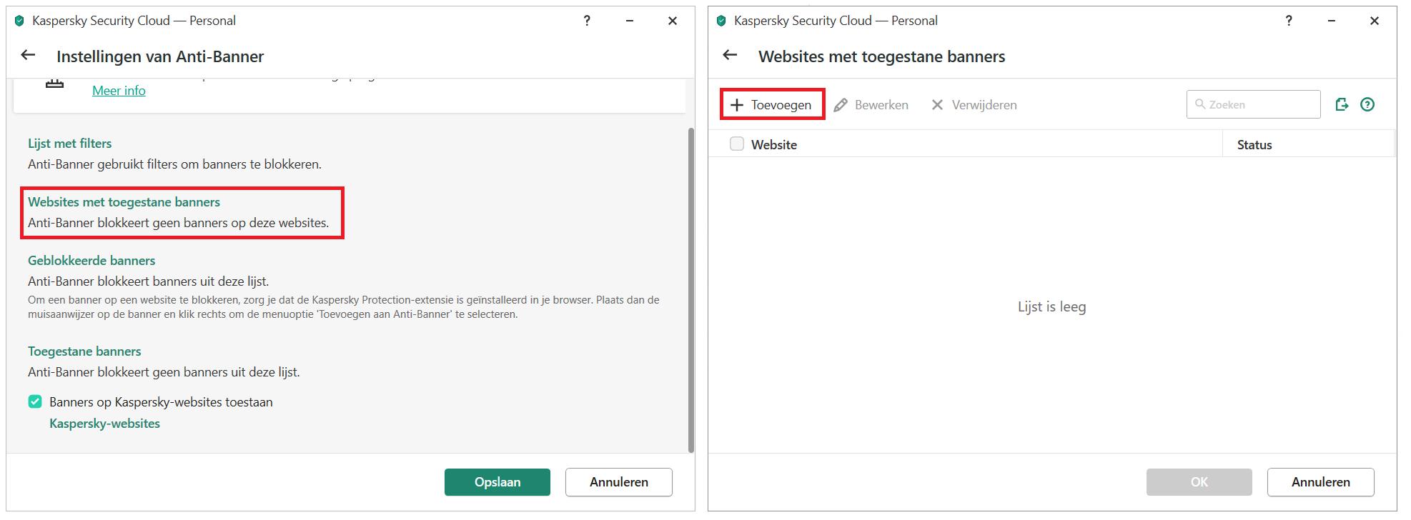 Een banner aan de uitzonderingenlijst toevoegen in Kaspersky Security Cloud