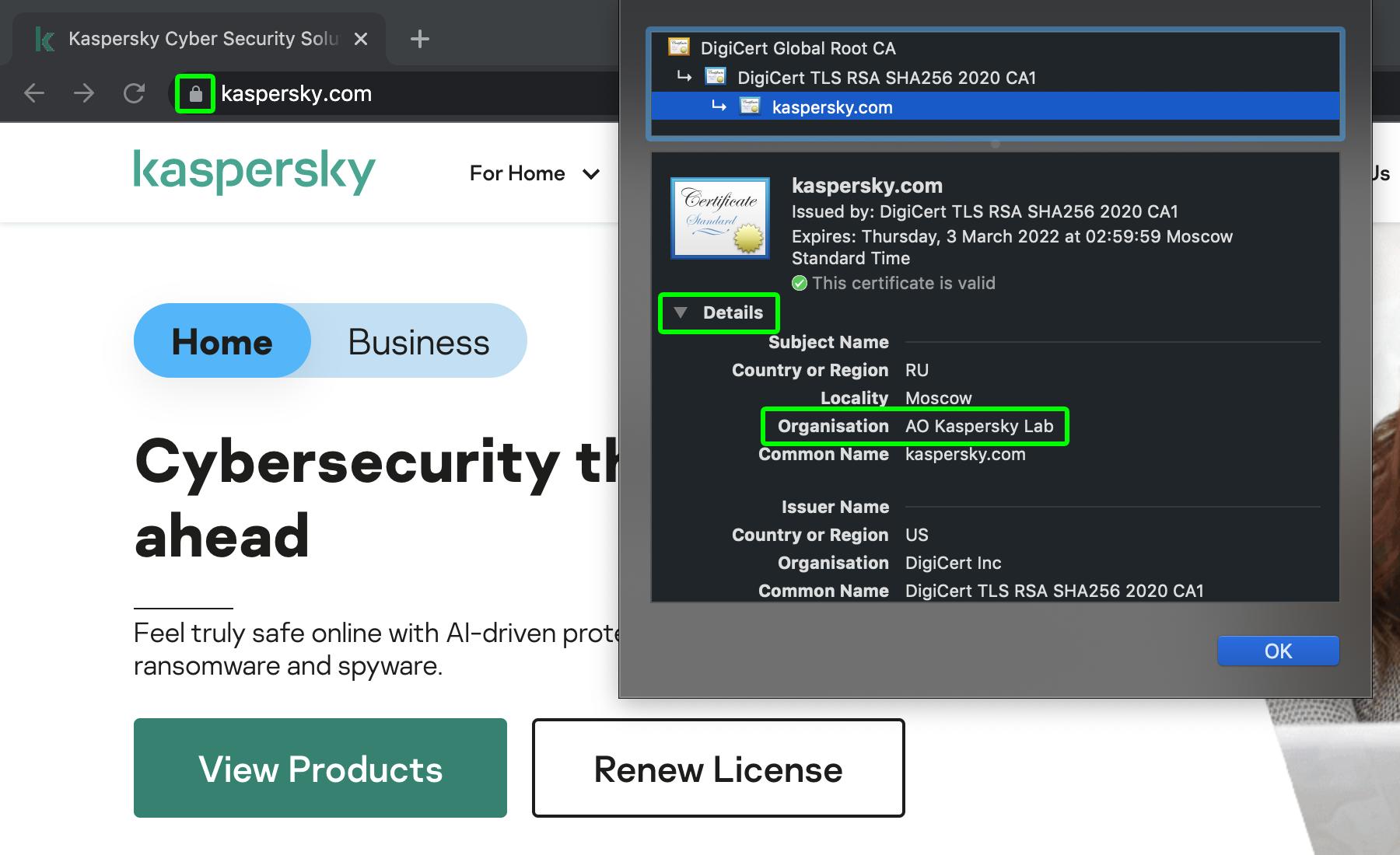 Bekijk aan wie de website toebehoort: kijk naar de details van het SSL-certificaat